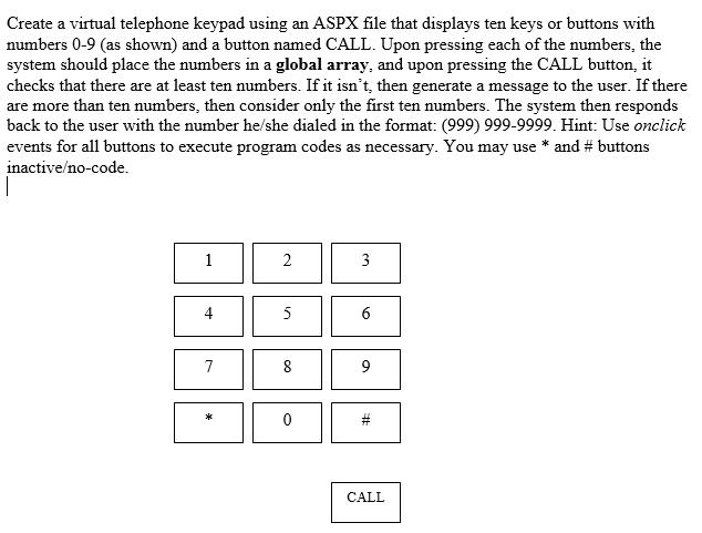 Create A Virtual Telephone Keypad Using An ASPX Fi