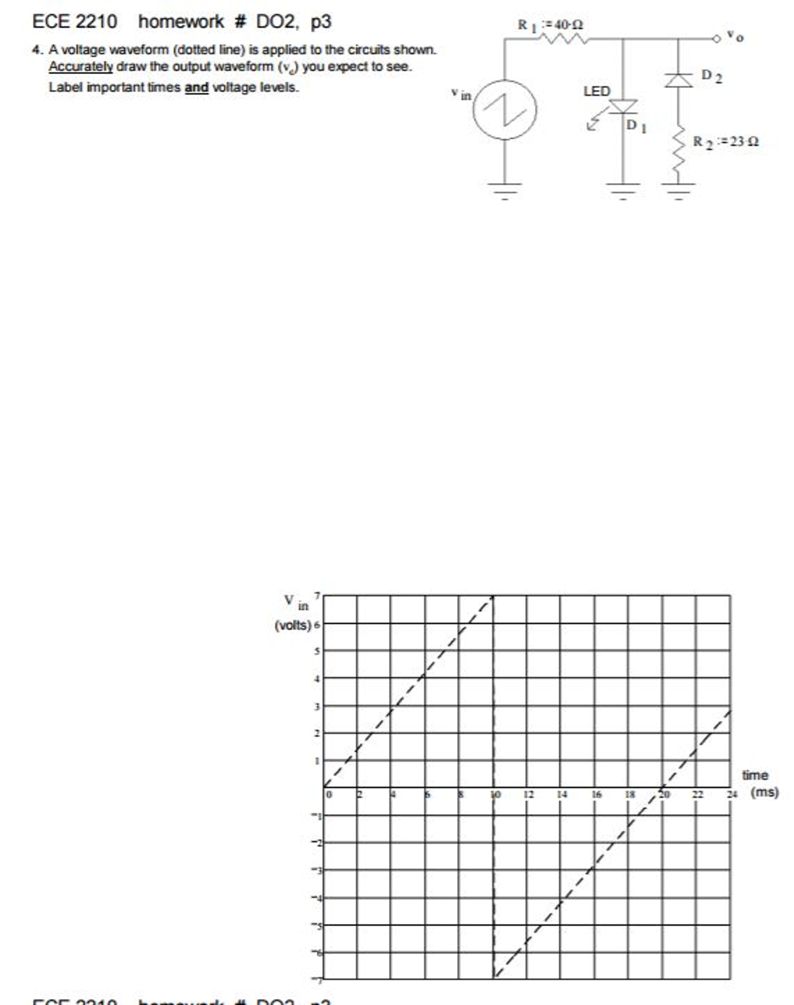 Solved: A Voltage Waveform (dotted Line) Is Applied To The ...