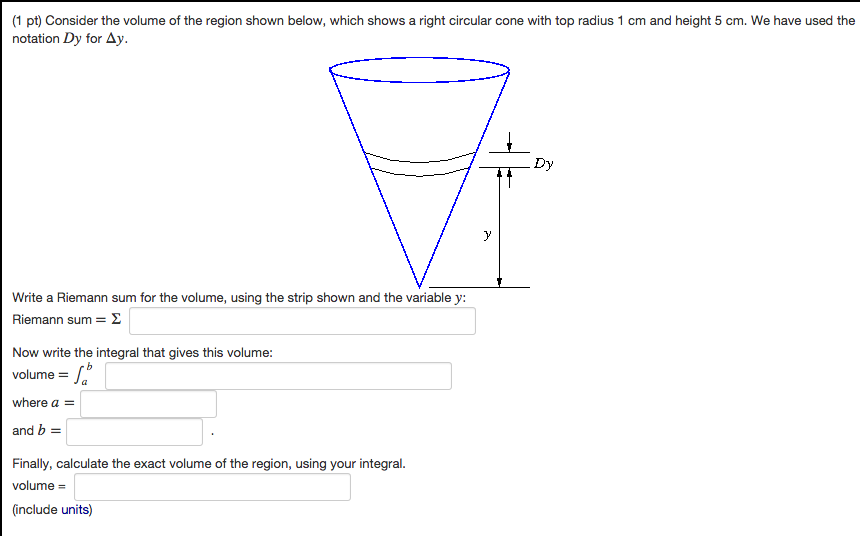 solved consider the volume of the region shown below whi