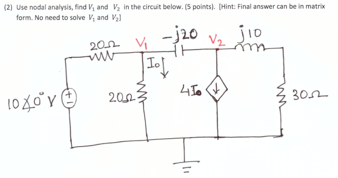 Electrical engineering archive april 29 2017 chegg 2 use nodal analysis find vi and v2 in the circuit below fandeluxe Image collections