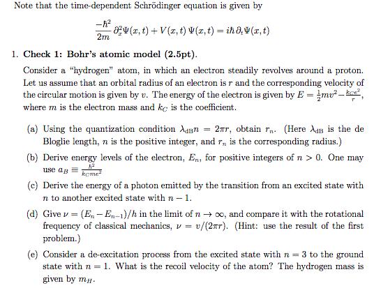 Solved: Note That The Time-dependent Schrödinger Equation