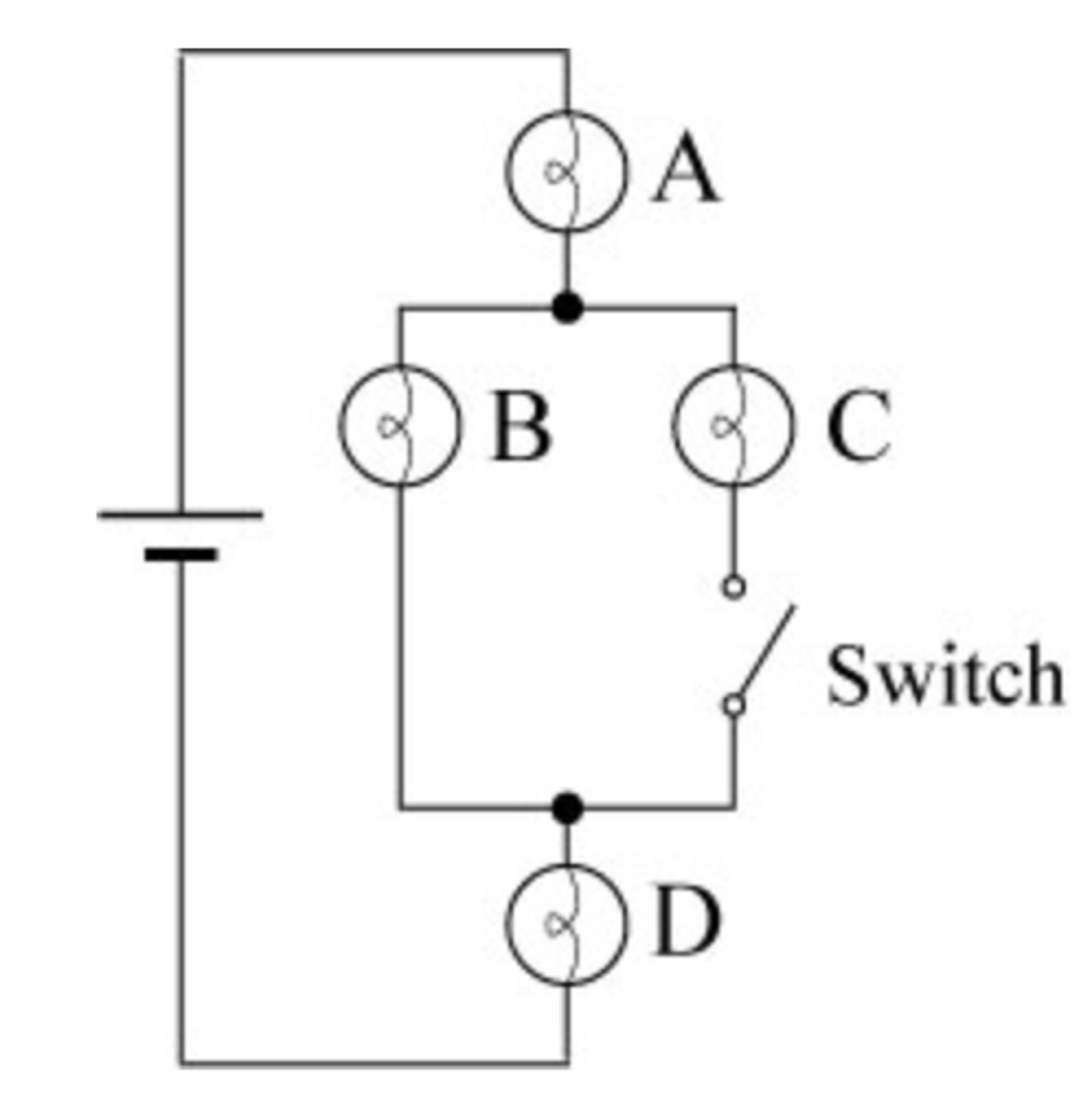 Solved 1 Initially The Switch Is Open Rank Bulbs A Light Bulb Connected In Circuit Shown Cheggcom Question According To Brightness From Brightest Dimme