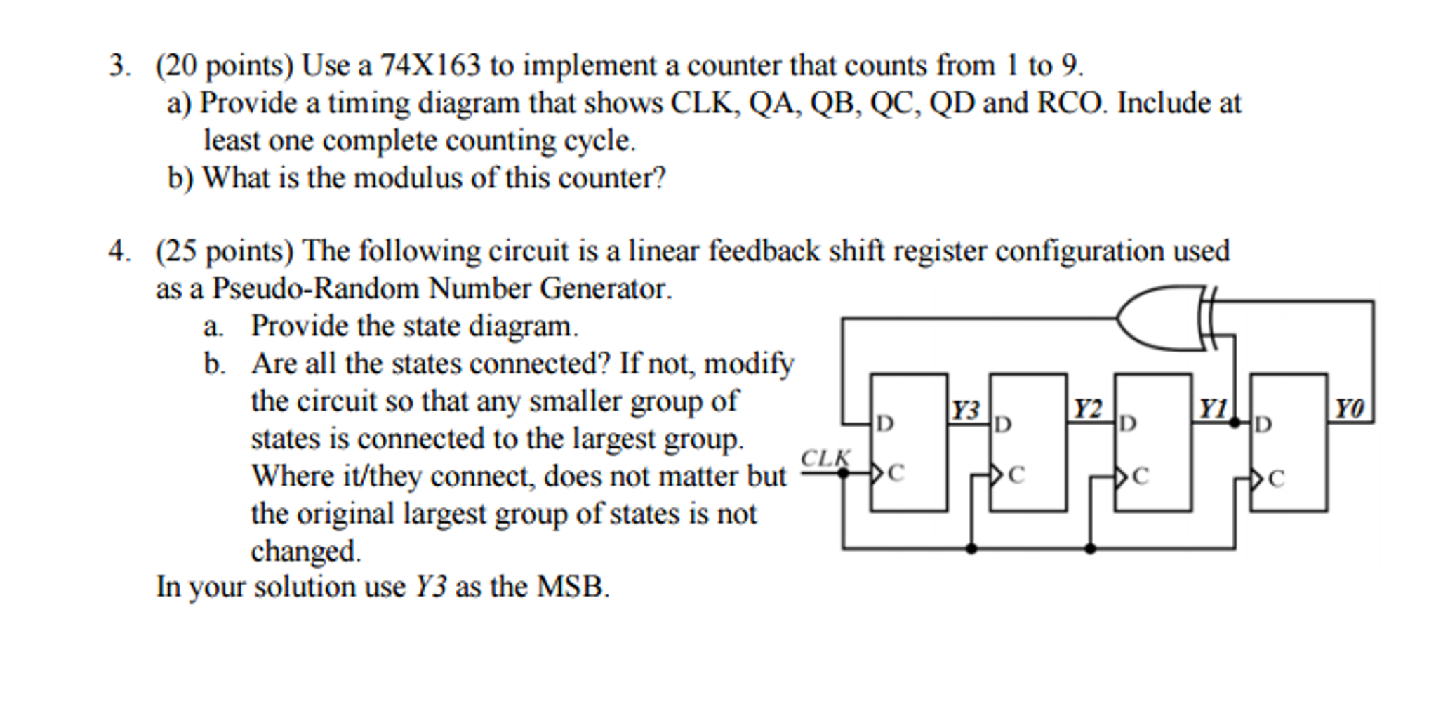 Solved Use A 74x163 To Implement Counter That Counts Fr Random Number Generator Circuit Diagram Question From 1 9 Provide Timing Shows