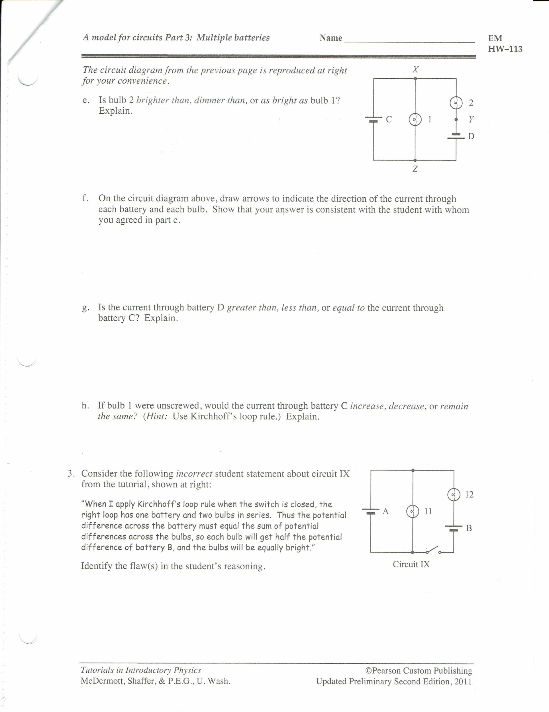 Solved: A Model For Circuits Part 3: Multiple Batteries EM ...