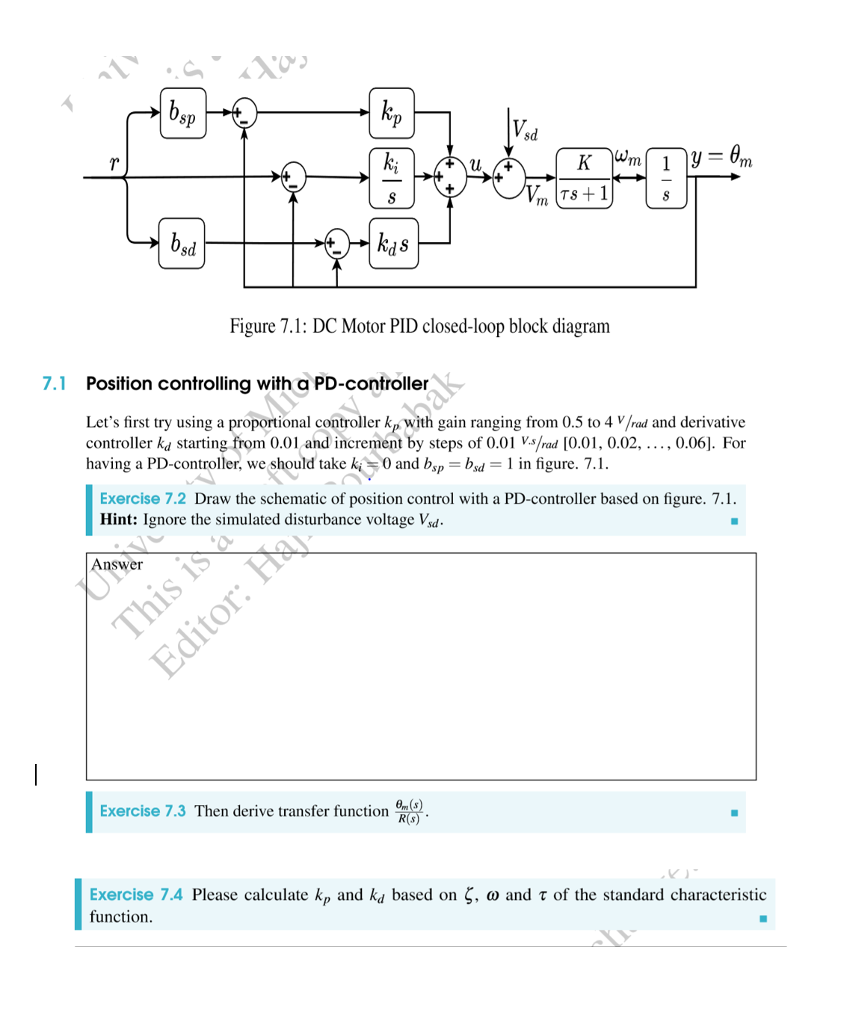 Solved: Sd TS Sd Figure 7.1: DC Motor PID Closed-loop Bloc ... on