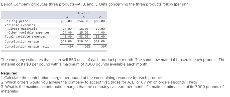 Accounting archive november 20 2017 chegg 1 answer benoit company produces three products a b and c data concerning the fandeluxe Choice Image