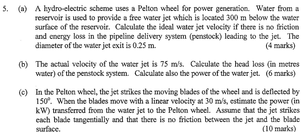 Solved: (a) A Hydro-electric Scheme Uses A Pelton Wheel Fo ...