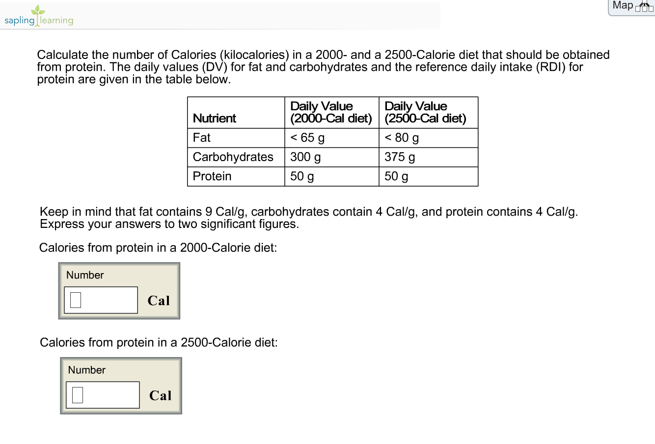 protein intake from 2000 calorie diet