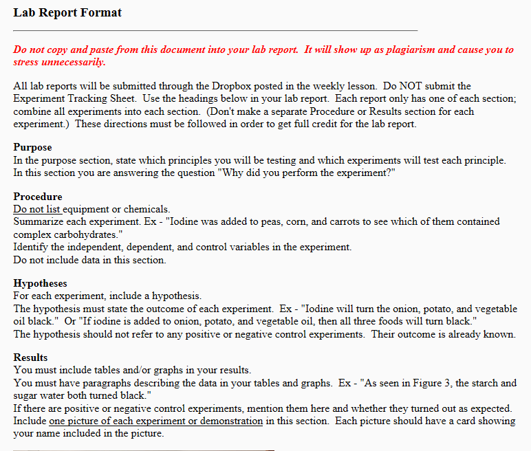 lab report format do not copy and paste from this document into your lab report
