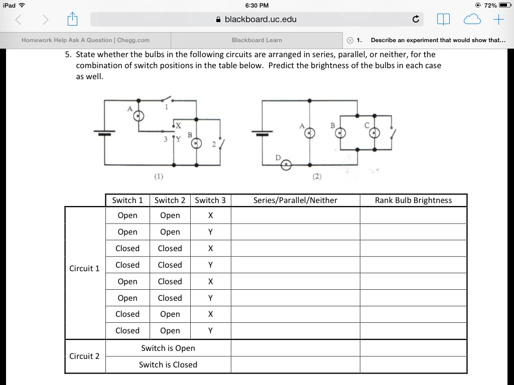 Solved draw the standard circuit diagram for followin