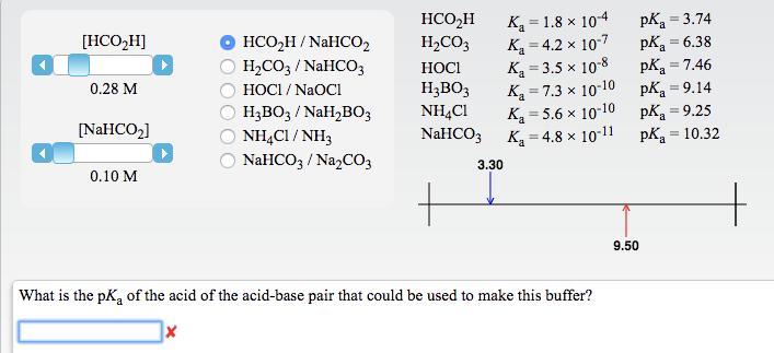 Hco2h H2co3 Hocl H3bo3 Nh4c1 Nahco3 Ka   1 8 U00d710