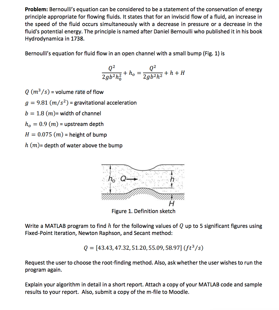 Bernoulli's Equation Can Be Considered To Be A Sta      Chegg com