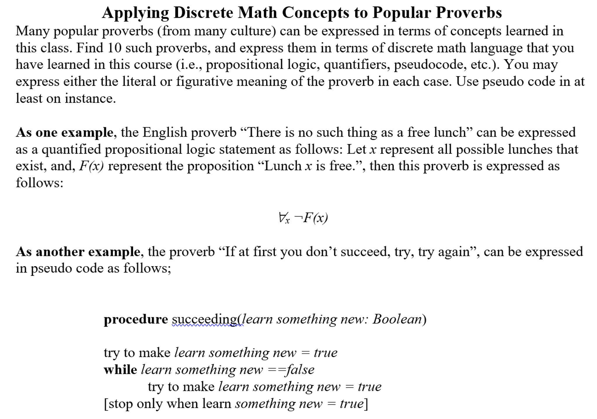 Solved: Applying Discrete Math Concepts To Popular Proverb