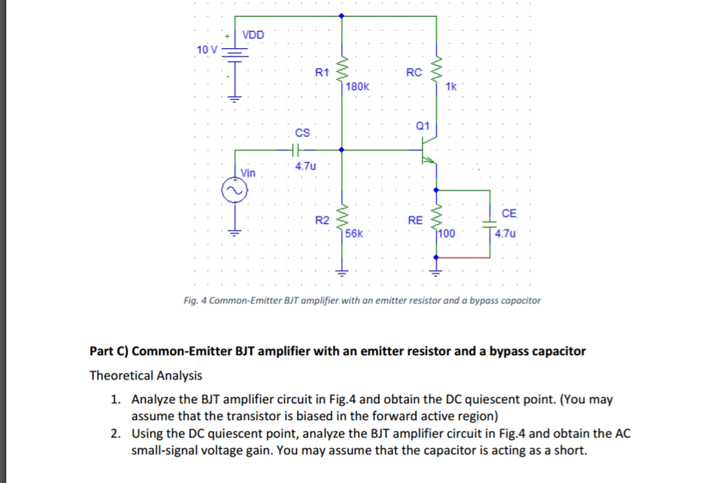 Solved: Common-Emitter BJT Amplifier With An Emitter Resis