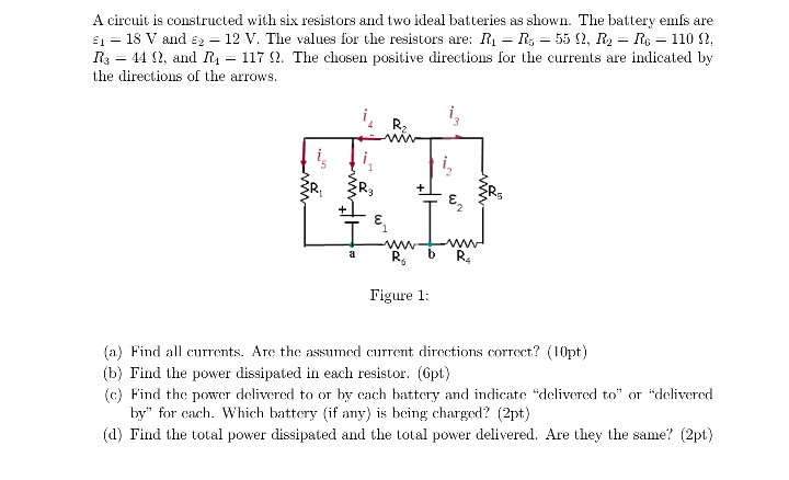 solved a circuit is constructed with six resistors and tw rh chegg com
