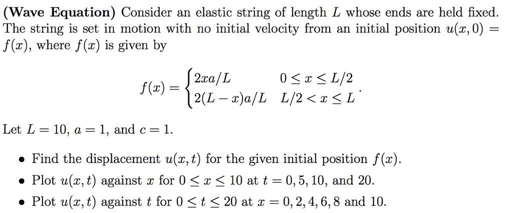 Solved: (Wave Equation) Consider An Elastic String Of Leng ...