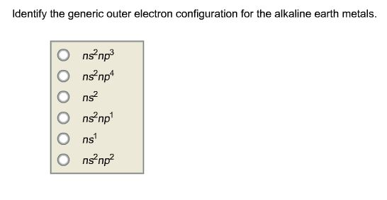 Solved Identify The Generic Outer Electron Configuration Chegg Com