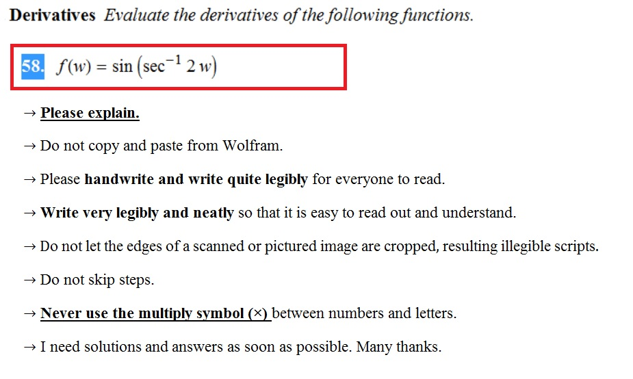 derivatives evaluate the derivatives of the following functions 58 fo sin sec 12