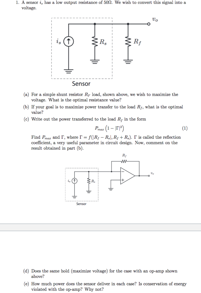 Electrical engineering archive february 02 2018 chegg i a sensor is has a low output resistance of 50 we wish to fandeluxe Images