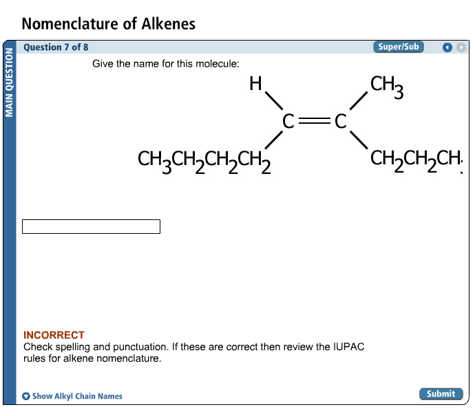 Solved: Nomenclature Of Alkenes Give The Name Or This Mole