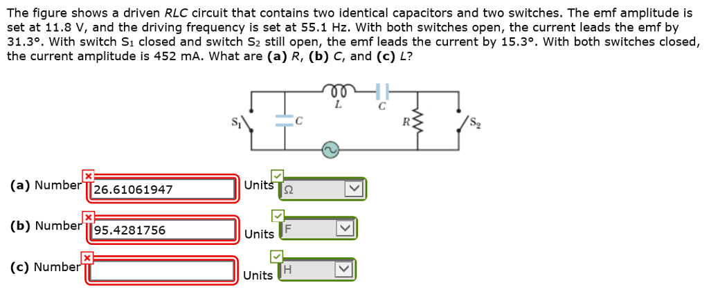 Solved: The Figure Shows A Driven RLC Circuit That Contain ...