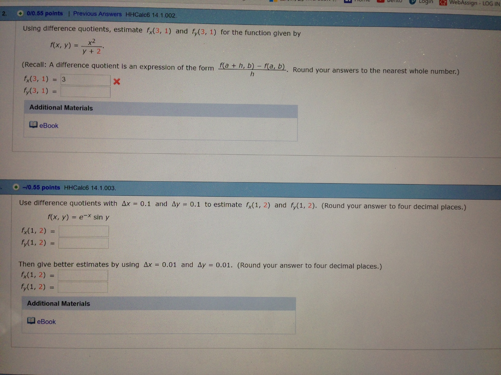 055 Points L Previous Answers Hhcalc6 141 Using Difference Quotients