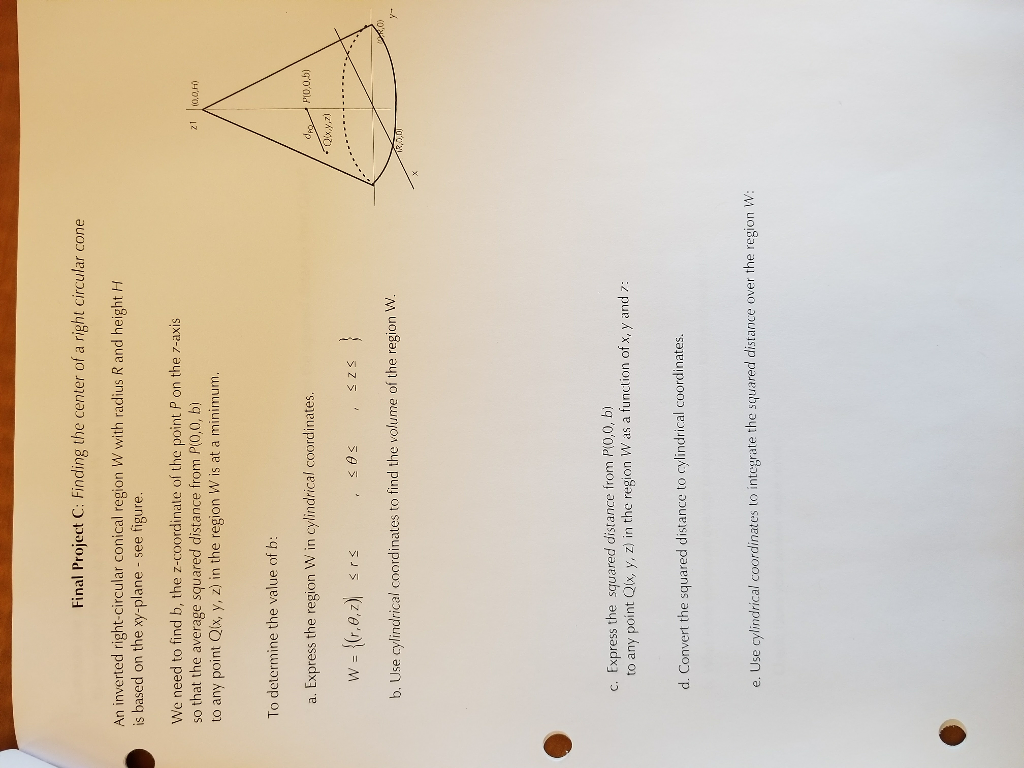 Final Project C: Finding The Center Of A Right Circular Cone An Inverted  Right