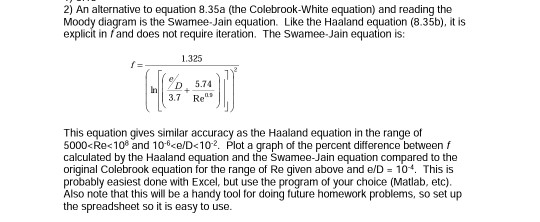 Solved 2 an alternative to equation 835a the colebrook 2 an alternative to equation 835a the colebrook white equation and ccuart