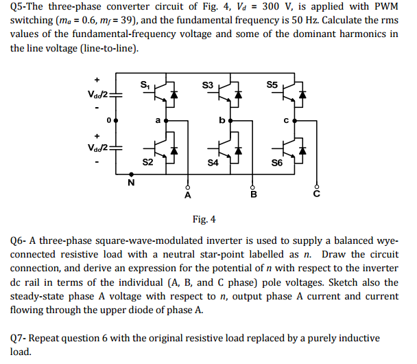 Solved The Threephase Converter Circuit Of Fig 4 Vd Rhchegg: 3 Phase Converter Schematic At Gmaili.net