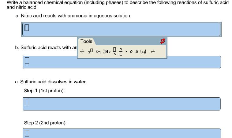 solved write a balanced chemical equation including phas