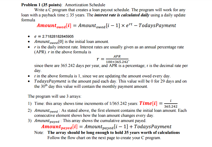 solved write a c program that creates a loan payout sched