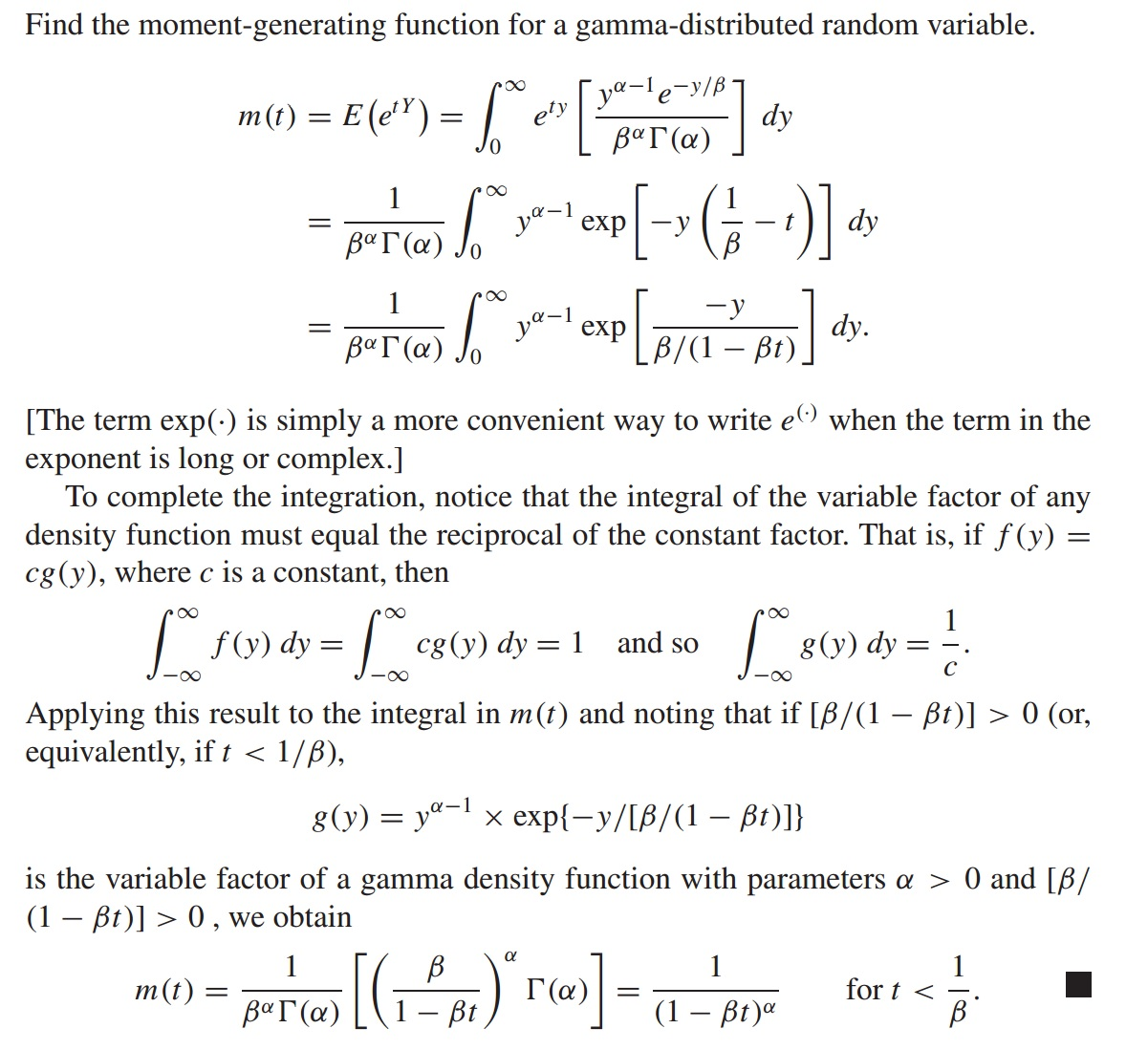 Solved: The Moment-generating Function For The Gamma Rando