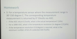 Solved: For A Temperature Sensor Where The Measurement Ran