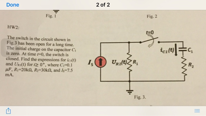 The switch in the circuit shown in Fig.3 has been
