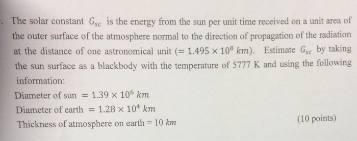 The solar constant G_sc is the energy from the sun