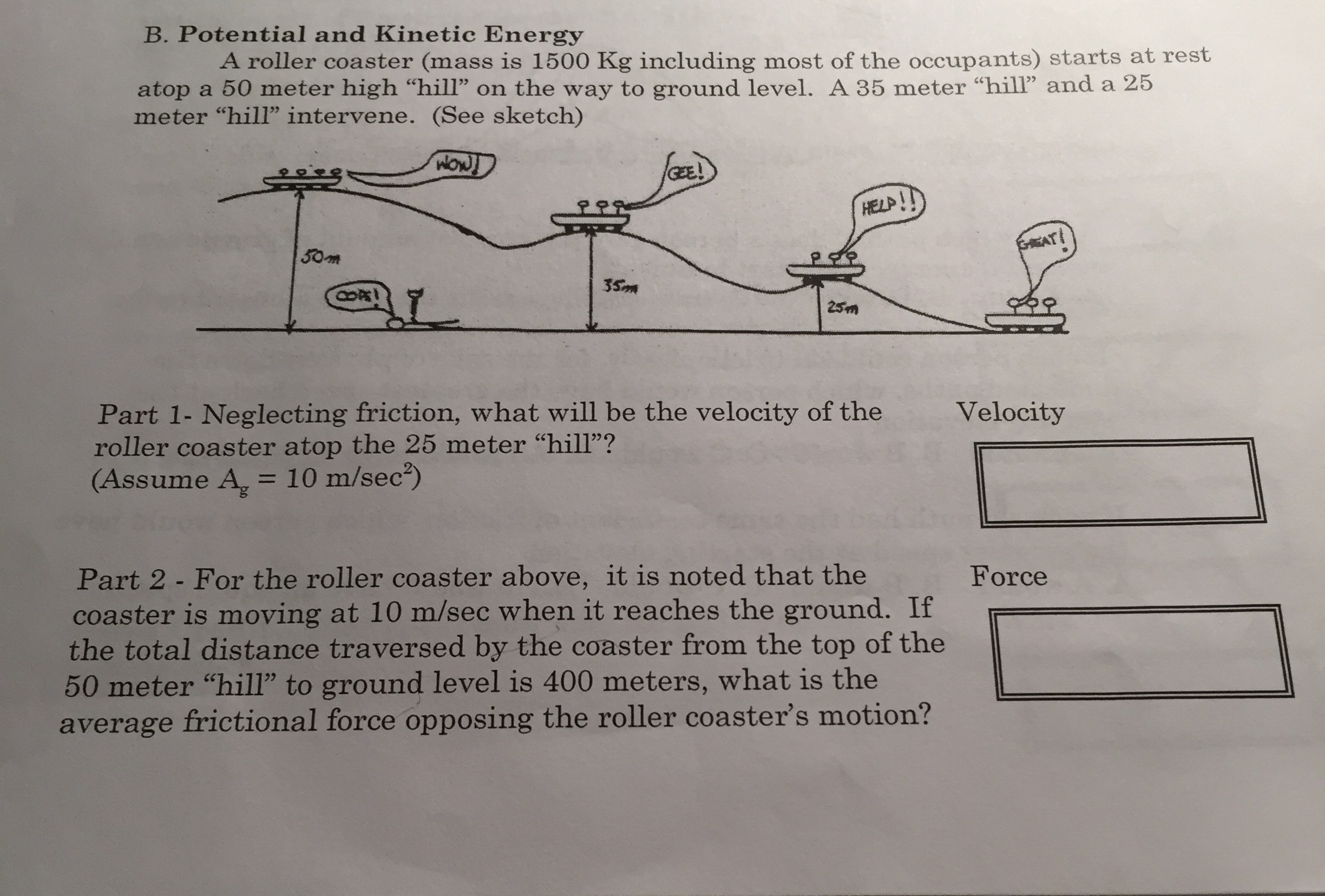 solved potential and kinetic energy a roller coaster mas rh chegg com