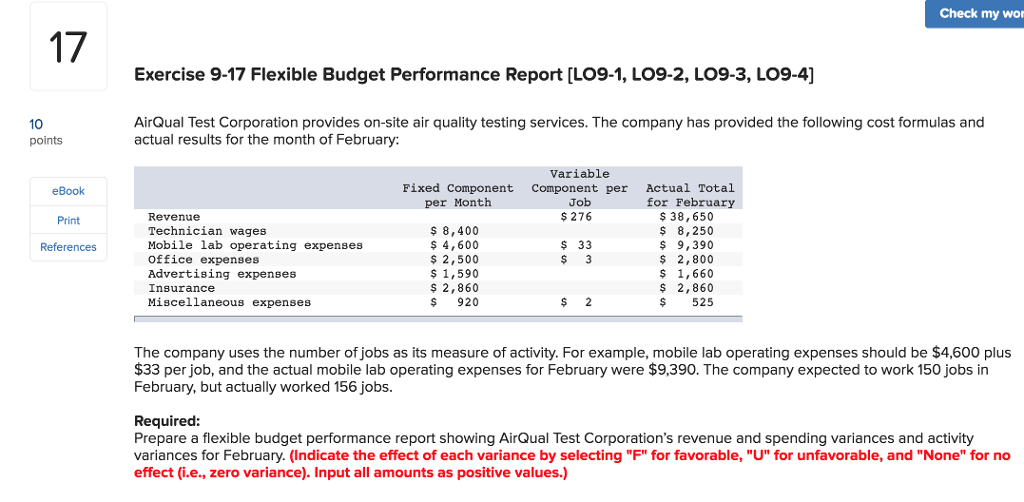 Solved Check My Wor 17 Exercise 9 17 Flexible Budget Perf
