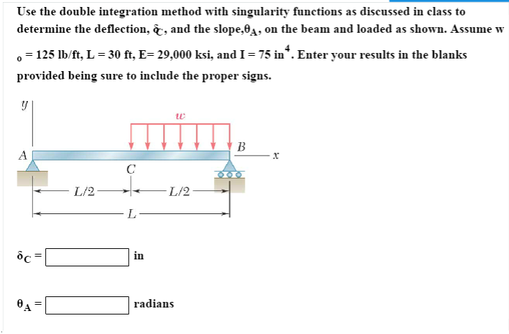 solved use the double integration method with singularity rh chegg com