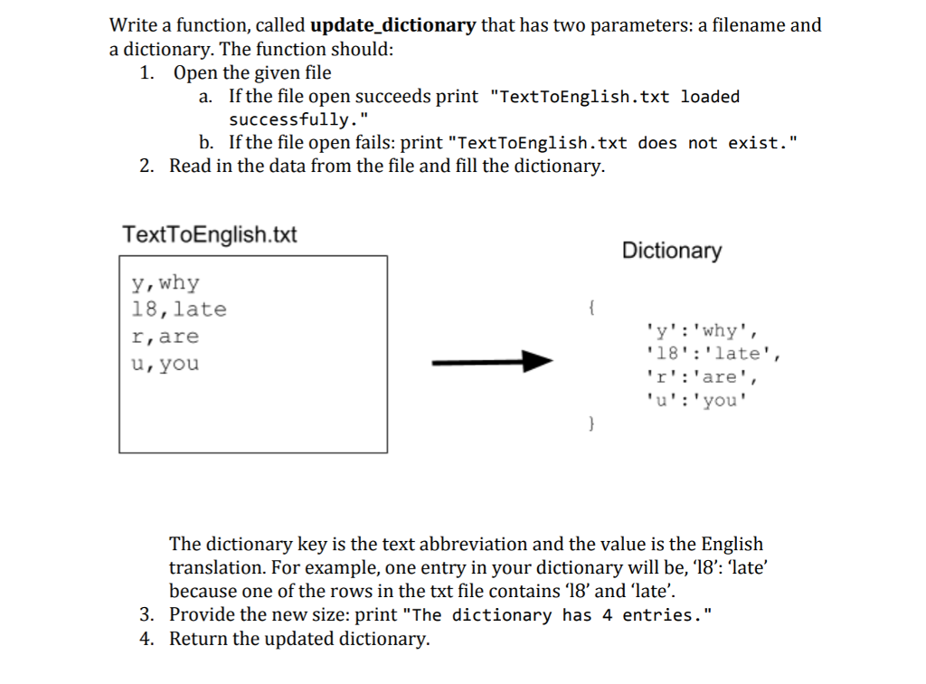 Solved: Write A Function, Called Update_dictionary That Ha ...