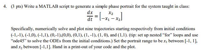 Solved: 4  Pts) Write A MATLAB Script To Generate A Simple