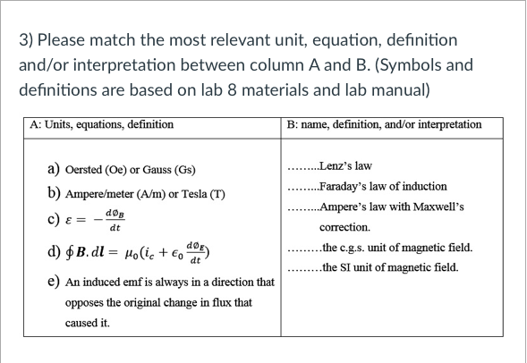 Solved: 3) Please Match The Most Relevant Unit, Equation