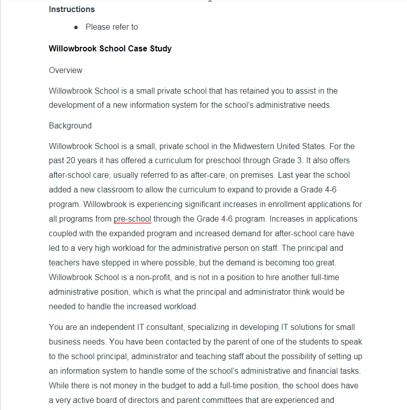 Computer science archive november 18 2017 chegg instructions please refer to willowbrook school case study overview willowbrook school is a small private school fandeluxe Images