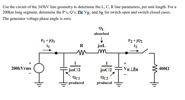 Use the circuit of the 345kv line geometry to dete chegg question use the circuit of the 345kv line geometry to determine the l c r line parameters per unit len ccuart Choice Image