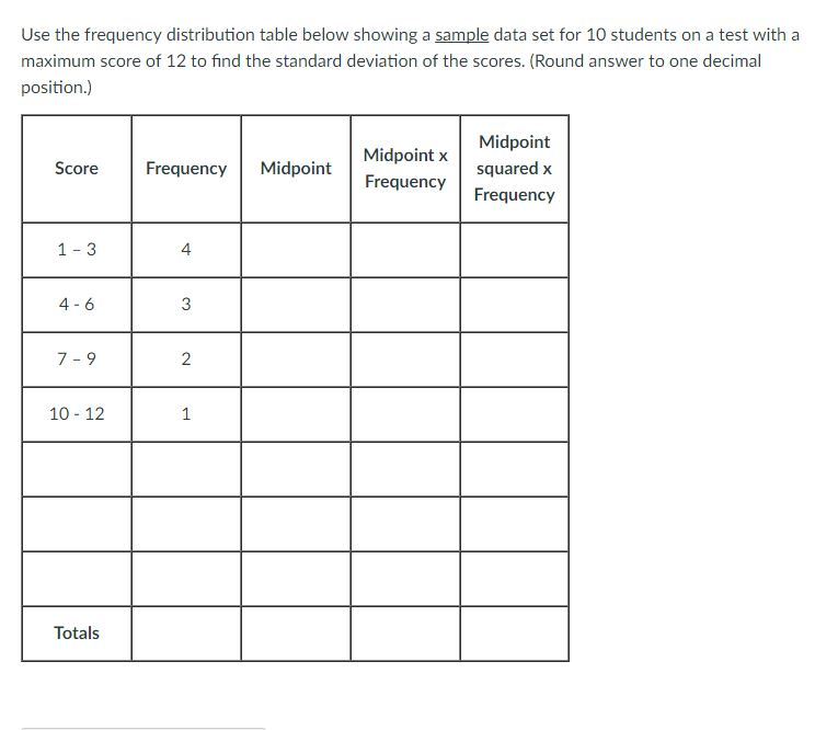 solved use the frequency distribution table below showing