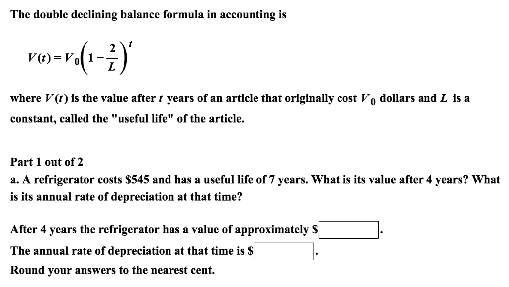 solved the double declining balance formula in accounting