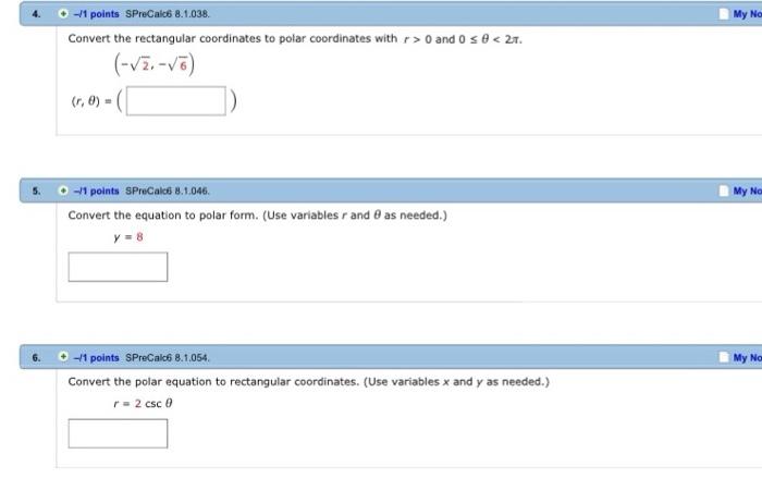 Solved: Convert The Rectangular Coordinates To Polar Coord
