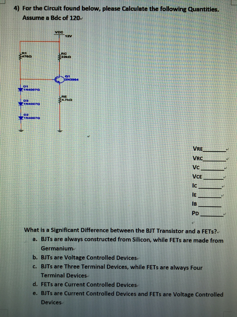 Solved: 4) For The Circuit Found Below, Please Calculate T ...