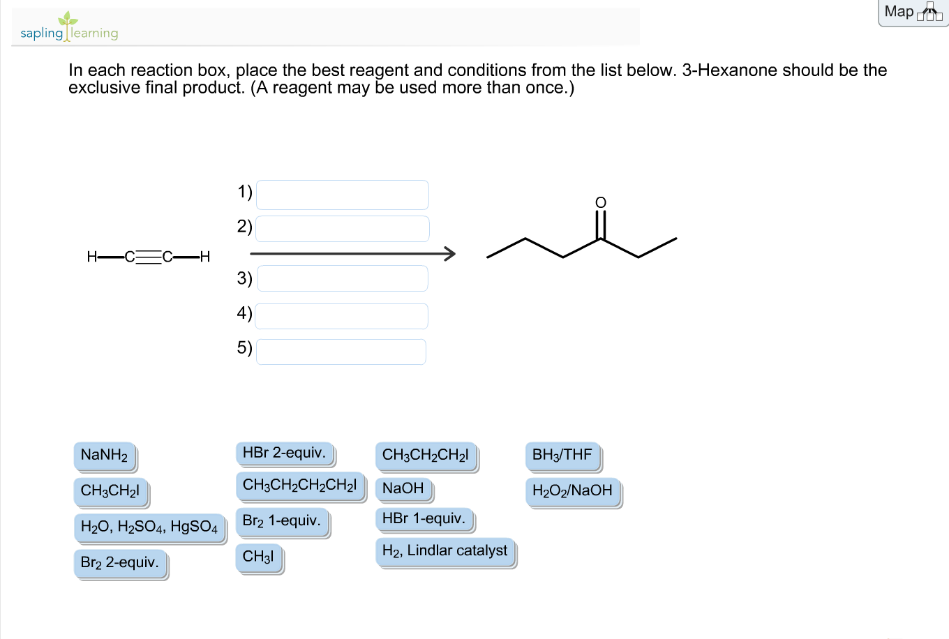 in each reaction box place the best reagent and conditions from the list below oh-#25