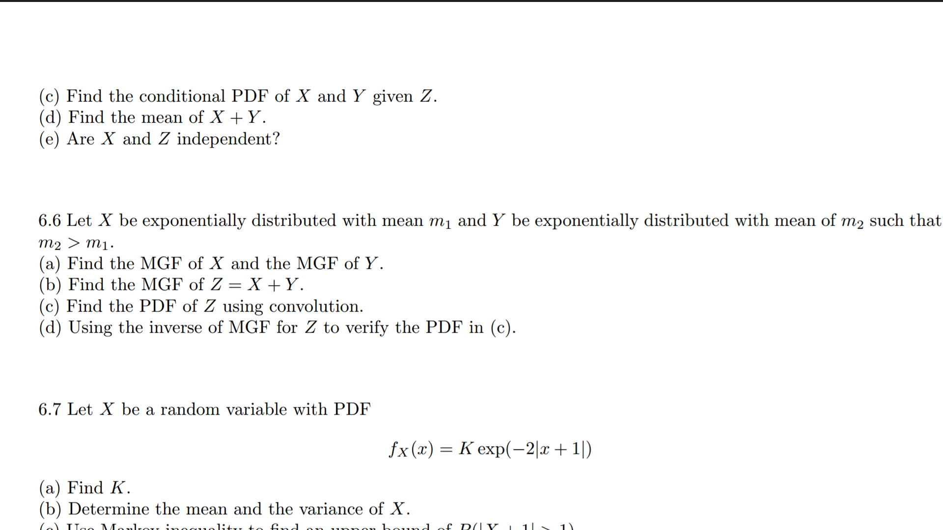 Find the conditional PDF of X and Y given Z. (d) F