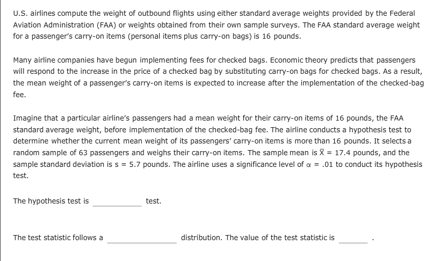 Solved U S Airlines Compute The Weight Of Outbound Fligh